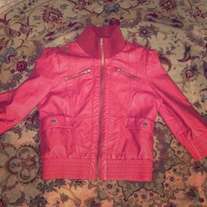 Cute crop leather jacket very warm